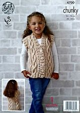 KNITTING PATTERN Girls Sleeveless V-Neck Cable Waistcoat Chunky KingCole 4700