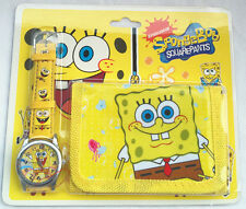 New 3D Spongebob squarepan pattern children kids lady girls watch Birthday Gift