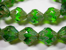 15 14x12mm Czech Glass Emerald Green Iris Baroque  Bicone Beads