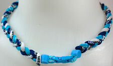 "NEW 20"" Custom Clasp Braided Sports Navy Light Blue White Sky Tornado Necklace"