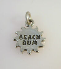 .925 Sterling Silver BEACH BUM SUN CHARM NEW Pendant Ocean Word 925 NT33