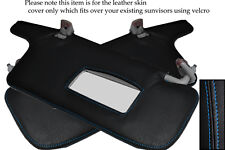 BLUE STITCH FITS SUBARU LEGACY 1998-2003 2X SUN VISORS LEATHER COVERS ONLY