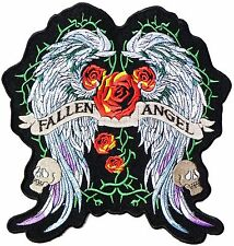 Fallen Angel Wings Lady Rider Biker Big XL Embroidered Back Jacket Patch 10""