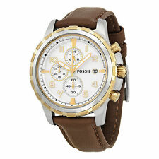 **NEW** MENS FOSSIL DEAN GOLD DATE CHRONO BROWN LEATHER WATCH - FS4788 -