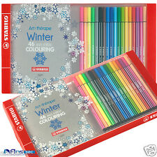 STABILO Pen 68 Winter Adult Art Therapy An Anti-Stress Colouring Book+Felt Pens