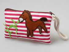 HORSE & WESTERN ACCESSORIES GIRLS KIDS SMALL CANVAS  COIN, PHONE, KEY PURSE PONY