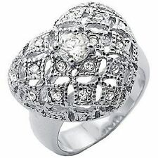 Ladies Large Rhodium SILVER CZ HEART DRESS RING SPECIAL GIFT IDEA, SIZE 7, NEW