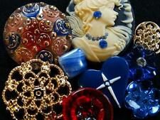 AWESOME LOT VINTAGE & NEW BUTTONS Rare Cameo Metal Glass Rhinestone RESERVED