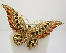 "Joan Rivers Magnificent Wide Winged Crystal  Butterfly Brooch  3 1/2""  AMBER"