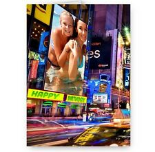 Personalised Photo Bill Board, Sign New York Theme A5 Happy Birthday Card