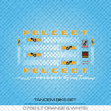 Peugeot Tandem bicyclette decals-transfers-autocollants-orange & noir-set 756