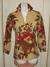 LADY HATHAWAY Vintage Canvas Top Shirt Blouse Tunic BERRY FRUIT BOTANICAL PRINT