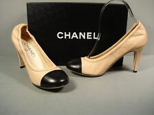 CHANEL CLASSIC GATHERED BLACK BEIGE LAMBSKIN ROUND TOE PUMPS HEELS CC 37 NEW