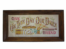VTG Cross Stitch Blessing Give Us This Day Our Daily Bread 1980 Framed 25""