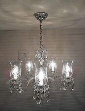 VINTAGE  LIGHT LAMP CRYSTAL GLASS PRISM ETCHED SHADE  CHANDELIER-MATCHING PAIR