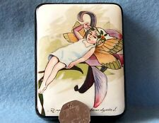 Russian HAND PAINTED LACQUER trinket Box TIRED FAIRY GIRL Papier Mache