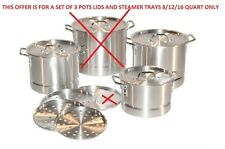 Thick Aluminum Stock Pot Tamale Steamer Set 8/12/16 Quart 3 pots