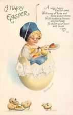 """Signed Clapsaddle c. 1910 """"A Happy Easter"""" Young Girl in Egg Swing Series #1916"""