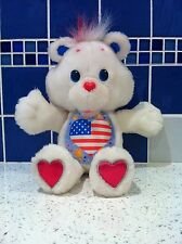 """Rare 13"""" Environmental Proud Heart Care Bear US Flag - 1991, Hard to find"""