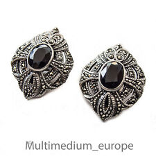 Silber Ohrclips Ohrringe Onyx Markasit silver ear clips earrings marcasite Deco