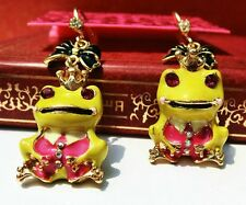 E572 Betsey Johnson Green Tree The Frog Prince Iron Henry Frog Earrings US