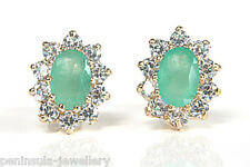 9ct Gold Emerald Studs earrings Gift Boxed Made in UK