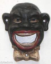 BLACK FACE CAST IRON WALL MOUNT BOTTLE OPENER