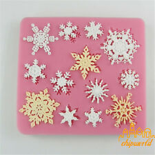3D Christmas Snowflake Silicone Mould Fondant Cake Mold Bakeware Cute Pink
