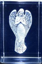 "Laser Etched Crystal Tower Paperweight Angel NEW Blue Gift Box 3"" x 2"" x 2"""