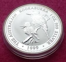 1999  AUSTRALIA  KOOKABURRA  SILVER ONE DOLLAR 1oz BU COIN - 'P100' PRIVY MARK