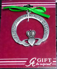 "Cathedral Art CLADDAGH CHRISTMAS ORNAMENT ""Friendship Loyalty Love"" FREE SHIP!!"