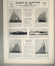 Harry W. Sanford PRINT AD - 1928 ~~ Yachts For Sale