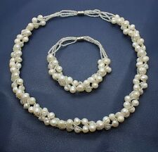 Genuine Freshwater White Pearl Necklace Earrings Bracelet Jewelry Set Wedding