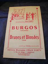 Partition Burgos Félix Curty Brunes et blondes Music Sheet