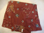 Italy Long 100% Polyester Scarf Scarve Shawl Wrap Burgundy Shear See Floral 62""