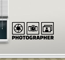 Photographer Wall Decal Photo Studio Vinyl Sticker Camera Decor Poster 100hor
