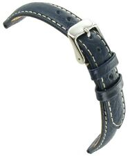 19mm deBeer Navy Genuine Sports Leather Padded White Stitched Mens Watch Band