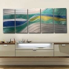 Blue/Green Painted Metal Abstract Wall Art Sculpture - Lucidity by Jon Allen