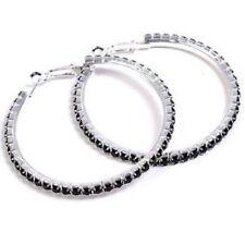 Black Diamonte / Diamante 1 Row Hoop Earrings 4cm - NEW!!!