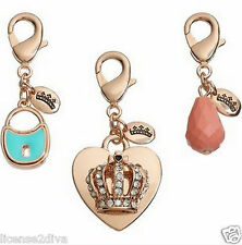 JUICY COUTURE CHARMS! SET OF 3! GOLDTONE! CROWN~LOCK & BEAD! FREE SHIP! NEW!