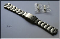 Stainless Steel Oyster Solid Link Curved Ends Watch Band 5 screws + 2 spring bar