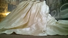 "Opulent Huge 100% Pure Dupion Silk Vanilla114""D 50""W Lined & Interlined Curtains"