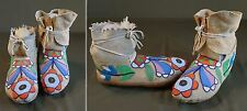 Rare 1890 Native American Nez Perce Beaded High Top Moccasins Smallest Beads