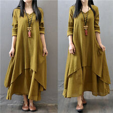 Women Islamic Muslim Kaftan Cocktail Party Loose Maxi Dresses Abaya Maxi Dress L