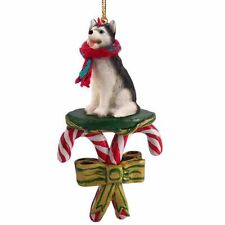 HUSKY Black White Dog Candy Cane Christmas Tree ORNAMENT