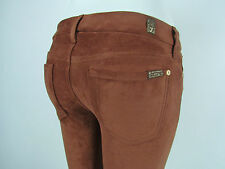 Seven 7 For All Mankind THE SKINNY Women LEGGING 26 BROWN TAN RUST SUEDE LEATHER