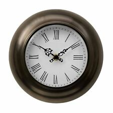 Wall Clock Bronze Metal Effect Roman Dials White Face Black Decorative hands