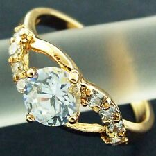 AN593 GENUINE REAL 18CT YELLOW G/F GOLD 1CT DIAMOND SIMULATED RETRO WOMENS RING