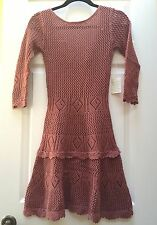 NEW $118 Victoria's Secret MODA Scoop-Back Crochet Knit Mini SWEATER DRESS sz XS