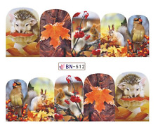 Full Wrap Nail Art Water Decals Transfers Hedgehogs & Squirrels (DB512)